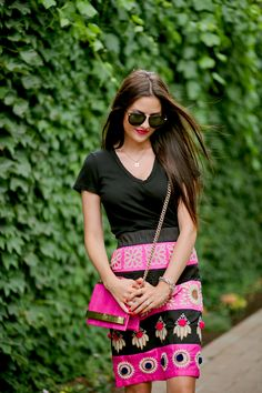 I'd like to try replicating this with embroidery --love the hot-pink-and black color blocking! anthropologie-pencil-skirt
