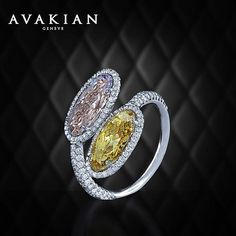 """A Pink and Yellow encounter. A breathtaking """"Toi et Moi"""" ring from our High Jewellery Collection set with two elongated Fancy Pink and Fancy Yellow Oval Diamonds. #HighJewellery #FineJewellery #Beautiful #Design #Craftmanship #PinkDiamond #YellowDiamond #Avakian #AvakianJewels"""