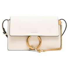 Chloe Small Leather Faye Bag ($1,485) ❤ liked on Polyvore featuring bags, handbags, shoulder bags, leather handbags, white shoulder bag, white handbags, leather purses and chloe handbags
