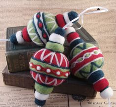 Needle Felted Christmas Ornaments Red, Green and White - Needlefelted Wool Soft Sculpture