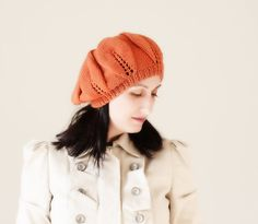 Knit Slouch beret Hat for Women  Pumpkin color Fall by SENNURSASA, $26 with Christmas coupon.
