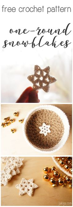 Quick and easy Christmas DIY project that works up in minutes and costs next to nothing - free crochet pattern for 3 unique snowflakes