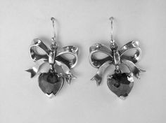 Sterling Silver Bow Earrings with Hanging by MetalCoutureJewelry, $500.00