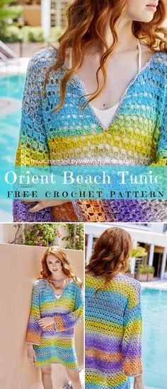 Crochet → SunHat | Written | US Terms Level: easy beginner  Perfect idea for hot summer on the beach. The tunic has pretty combined colours, but this is an only first idea. What about your preferences? #crochetfreepatternsforlady #crochetfreepatternforvest #crochetfreepatternfortunic #crochethat #crochetsunhat