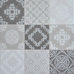 A delicate lace inspired blend in a palette of soft greys and white. 300x300 sheeted mosaic #tiles #mosaic #beautiful #Moroccan #splashback