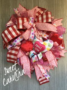 Holiday Door Wreaths, Valentine Day Wreaths, Wreaths For Front Door, Valentines Day, Velvet Heart, Sweet Kisses, Cool Writing, Sweet Tarts, Love Is Sweet