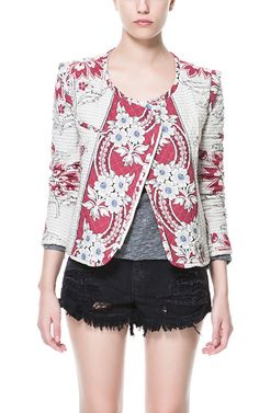 PRINTED QUILTED CARDIGAN - Blazers - TRF - ZARA United States