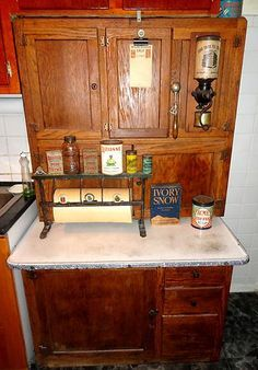1920 S Rare Antique Oak Hoosier Kitchen Cabinet Cupboard