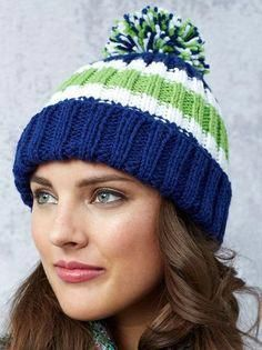 Free Knitting Pattern for Game Day Hat Knit Flat   knittingpatternsforbeginners Gorros De Lana e35768c9b48