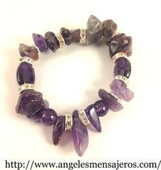 joyeria en cristales de cuarzos-joyas en cuarzos-pulsera en cuarzo-brazalete en cristal de cuarzo-pulsera amatista-Brazalete stretch en Amatista Pura