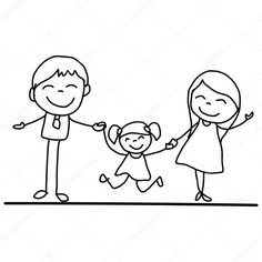 Black And White Cartoon Family: Hand Drawing Cartoon Happy Young Family Vector Illustation Art Drawings For Kids, Drawing For Kids, Cartoon Drawings, Easy Drawings, Art For Kids, Stick Figure Drawing, Black And White Cartoon, Family Drawing, Doodle Art Journals