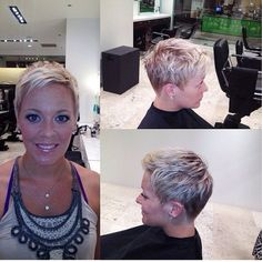 Proper Pixie Cuts : Photo This is a pic of what I don't want. Too short on sides and back. Short Pixie Haircuts, Pixie Hairstyles, Short Hairstyles For Women, Short Hair Cuts, Short Hair Styles, Style Short Hair Pixie, Blonde Pixie Cuts, Long Pixie, Pelo Color Gris