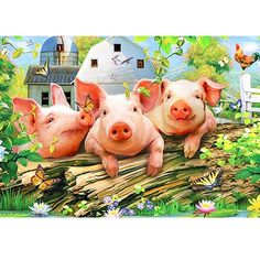 WDARTS DIY Diamond Painting by Numbers Kits Animals Square Drill Cross Stitch Crystal Rhinestone Diamond Embroidery Home Décor (Three Little Farm Animals, Animals And Pets, Cute Animals, Three Little Pigs, This Little Piggy, Farm Images, Pig Illustration, Pig Art, Pig Farming