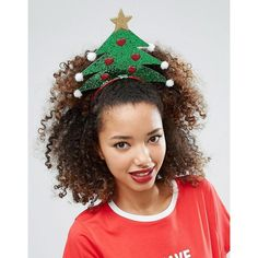 ASOS Christmas Tree Headband ($9.93) ❤ liked on Polyvore featuring accessories, hair accessories, green, evening hair accessories, hair band accessories, head wrap headband, head wrap hair accessories and asos