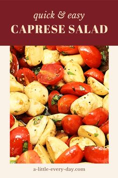 This delicious caprese salad requires only a few ingredients and comes together in under ten minutes. Serve it on busy weeknights or use it to impress your guests at dinner parties! Dinner Party Recipes, Dinner Parties, Caprese Salad Recipe, Salad Recipes, Side Dish Recipes, Side Dishes, Cooking With Fresh Herbs, Large Salad Bowl, Ten Minutes