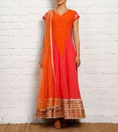 Salmon and Orange Georgette Anarkali Suit