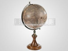 Vintage Brass Wooden Paper Plastic World Globe