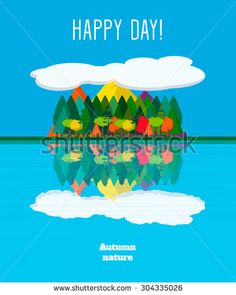 Vertical flat autumn nature landscape poster: mountains, trees, clouds and reflection in lake. Vector illustration.