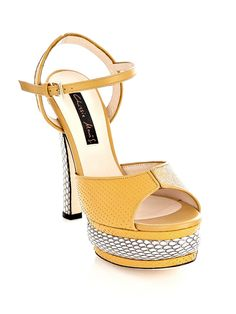 Chrissie Morris Farrah Python and Stingray Sandals in Yellow | Lyst