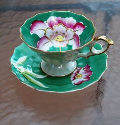 Vtg Teacup and Saucer - Royal Carlton Footed Tea Cup Green