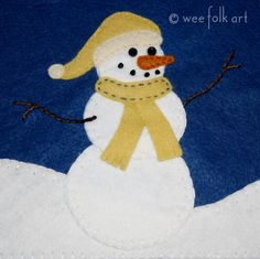 Happy Snowman Applique Block | Wee Folk Art