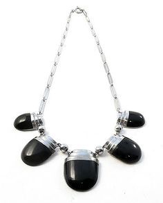 Chrome and Galalith Necklace