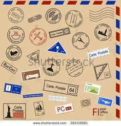 Set of various post seals, brands, coupons.