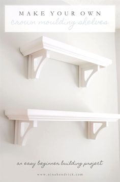 Cool Woodworking Tips - Build Your Own Crown Moulding Shelves - Easy Woodworking Ideas, Woodworking Tips and Tricks, Woodwo . Decor, Shelves, Home Projects, Diy Furniture, Diy Crown Molding, Easy Woodworking Ideas, Diy Shelves, Home Decor, Wood Diy
