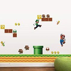 [ Super Mario Bros Cartoon Removable Wall Stickers Kids Baby Rooms Super Mario Bros Wall Sticker Home Decor Kids Room Baby Bedroom ] - Best Free Home Design Idea & Inspiration Boys Wall Stickers, Removable Wall Stickers, Wall Stickers Home Decor, Diy Stickers, Wall Decals, Cartoon Wall, Cartoon Boy, Art Mural, Rooms Home Decor