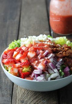 Strawberry Poppyseed and Bacon Chopped Salad | Creme De La Crumb