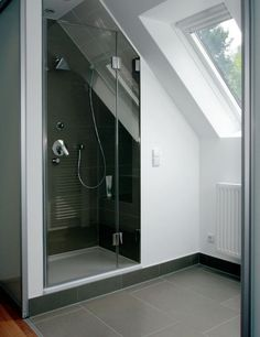 Modern Attic Bathroom Design Ideas - How to turn your attic into an extra room by creating a bathroom Install shelving in niches beneath sloping walls and create a luxurious feel with a w. Attic Shower, Small Attic Bathroom, Loft Bathroom, Upstairs Bathrooms, Bathroom Design Small, Bathroom Layout, Master Bathroom, Shower Rooms, Tile Layout