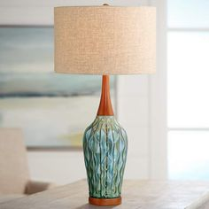"""Rocco 30"""" High Mid-Century Modern Blue Ceramic Table Lamp - #21V95 