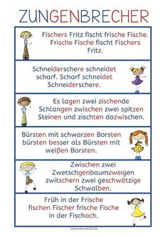 """Noch mehr Zungenbrecher – Today we continue with new tongue twisters. The first tongue twisters were an absolute success. Today classics like """"Fischer Fritz"""" and """"Brautkleid bleibt Brautkleid"""" are included. Use the tongue twisters, read on → German Grammar, German Words, Tongue Twisters, German Language Learning, Learn German, Expressions, Elementary Education, Science Education, Primary School"""