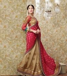 Red Embroiderd Jacquard Designer Saree With Embroidered Work Blouse shop online