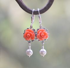 Coral Rose and White Swarovski Pearl Dangle Earrings