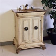 "Legion Furniture LF60 28"" Single Sink Vanity in Ivory Antique White - Vanity Top Included"