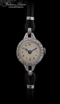 Zegarek Platynowo Irydowy Wysadzany Diamentami 0 60 K Z Okresu Miedzywojennego Silver Watch Silver Watches