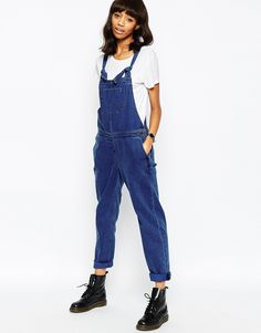ASOS+Denim+Classic+Dungaree+With+Tie+Straps+in+Rich+Blue