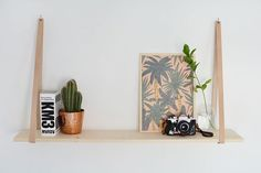 Leather Strap Hanging Shelf | Simple Living Room Shelving Ideas