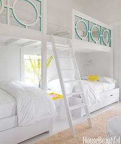 Sally Markham designed a lattice railing for the girls' bunk beds in a Sullivan's Island, South Carolina, house, painting the insides of the circle Benjamin Moore's Peacock Blue.