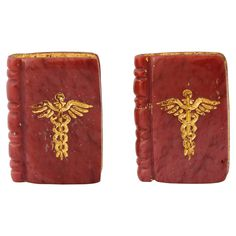 Michael Kanners Gold Inlaid Caduceus Book Cufflinks    From a unique collection…