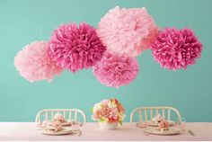 Martha Stewart Crafts Pom Poms, Pink, 2 Sizes: Fun, festive party decorative pop poms in two sizes. Includes 5 tissue paper pom poms, 5 wire sections and easy instructions. Makes 5 Pom Poms. Pom Pom Tutorial, Paper Flower Tutorial, Diy Tutorial, Tissue Pom Poms, Tissue Paper Flowers, Paper Poms, Pink Paper, Paper Balls, Tissue Balls