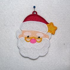 Machine Embroidery Design-FSL-Santa Ornament for 4x4 Hoop.