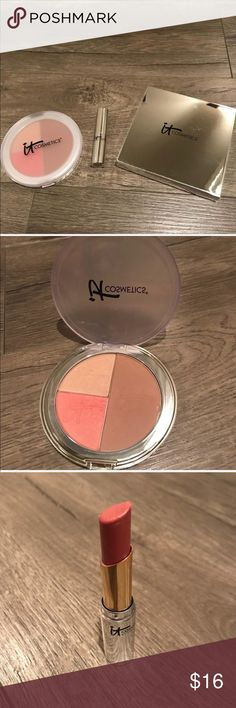 ❗️IT COSMETICS Make Up Bundle❗️ ❗️Live, Love, Laugh Vitality Face Disc: Anti aging matte bronzer - Brightening blush tint - radiance illuminator  Never Used   ❗️Vitality Flush Butter - Color: Pillow       Lots left   ❗️It's Your Beauty Award Winning Must Have Palette: Only swatched-never used: Bye Bye Pores Pressed Powder  Bye Bye Pores Pressed Blush Vitality Matte Bronzer  Hello Light Creme   POSH AMBASSADOR - HOST PICK SELLER & 5 STAR SELLER   Happy Poshing😊 IT Cosmetics Makeup