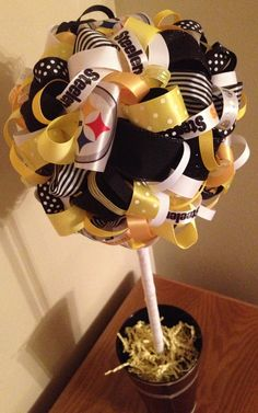 NFL Teams  Steelers Ribbon Topiary by FlourGardenTreats, $35.00