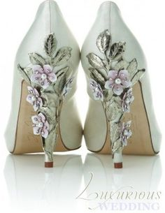 Mint wedding shoes with purple flower and leaves on heels. Get inspired at diyweddingsmag.com