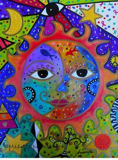 Folk Art Painting Mexican Sun and Moon Couple Love  - by Prisarts