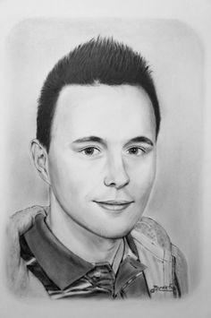 Dry Brush portrét mladého muže.