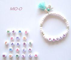 Namensarmbänder - & Ketten - Personalisierte Mädchen Armband mit Schutzengel  - ein Designerstück von MIO-O bei DaWanda
