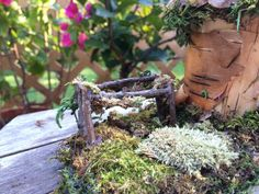 Lovely fairy cottage with brass bell and swing by ChezDarlington Brass Bell, Beautiful Fairies, Clothes Line, Pine Cones, Unique Gifts, Fairy, Cottage, Garden, Houses